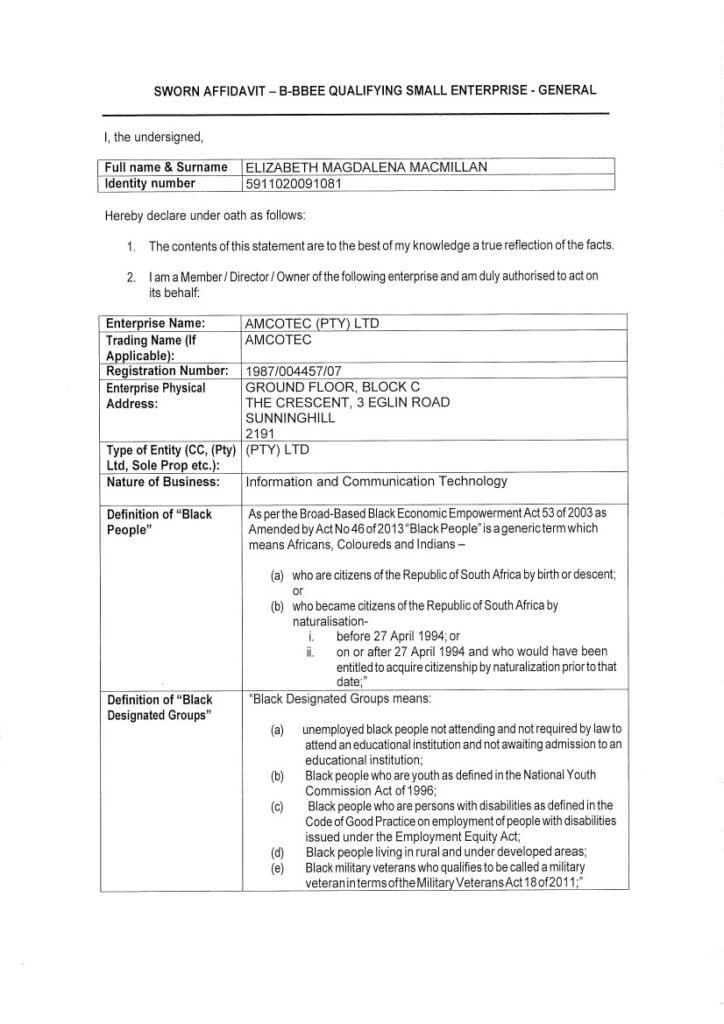 AMCOTEC B-BBEE Certificate